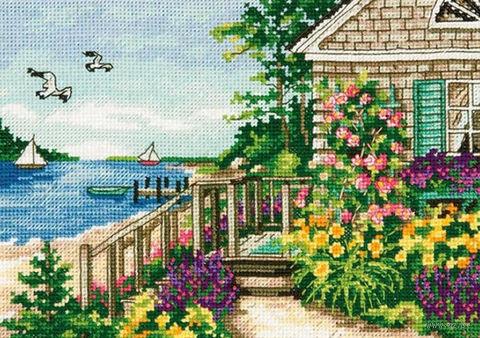"Вышивка крестом ""Домик на берегу бухты"" (130x180 мм) — фото, картинка"