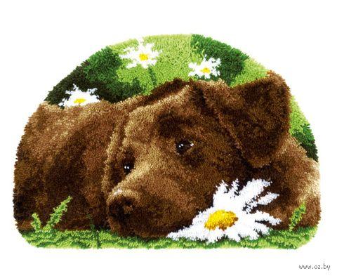 """Вышивка в ковровой технике """"Коврик. Пес с ромашкой"""" (690х460 мм) — фото, картинка"""