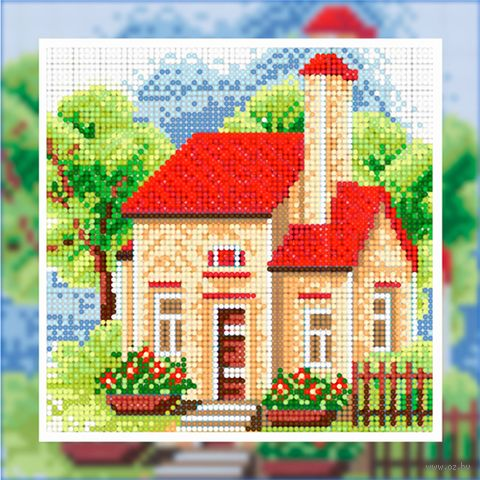 "Алмазная вышивка-мозаика ""Летний домик"" (250х250 мм; арт. БСА25-042) — фото, картинка"