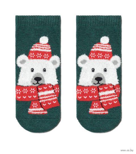 """Носки детские """"New year. Белый мишка. 19С-73СП"""" (р. 13-14; тёмно-бирюзовый) — фото, картинка"""
