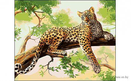 "Картина по номерам ""Леопард на ветке"" (400x500 мм) — фото, картинка"