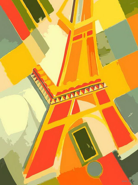 "Картина по номерам ""Взгляд на Эйфелеву башню"" (400х300 мм)"