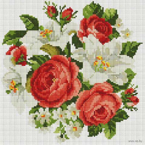"""Алмазная вышивка-мозаика """"Розы и лилии"""" (300х300 мм) — фото, картинка"""