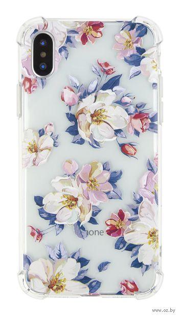 """Чехол для iPhone X/XS """"Цветочный принт"""" (прозрачный) — фото, картинка"""