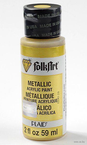 """Краска акриловая """"FolkArt. Metallic"""" (чистое золото, 59 мл; арт. PLD-01654)"""