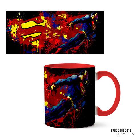 """Кружка """"Супермэн из вселенной DC"""" (красная; арт. 413) — фото, картинка"""
