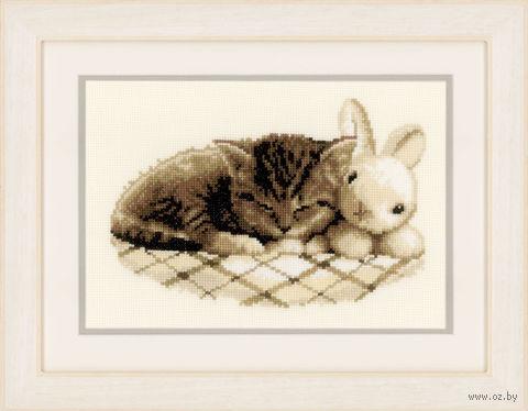 "Вышивка крестом ""Спящий котенок"" (250x170 мм) — фото, картинка"