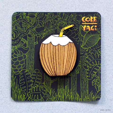"""Значок деревянный """"Кокос"""" — фото, картинка"""