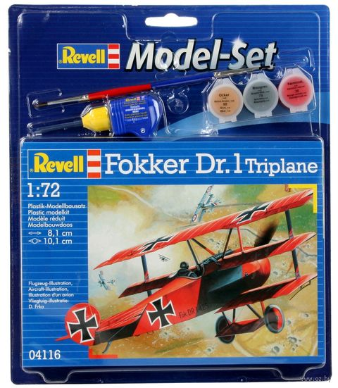 """Сборная модель """"Немецкий самолет Fokker Dr.1 Triplane"""" (масштаб: 1/72) — фото, картинка"""