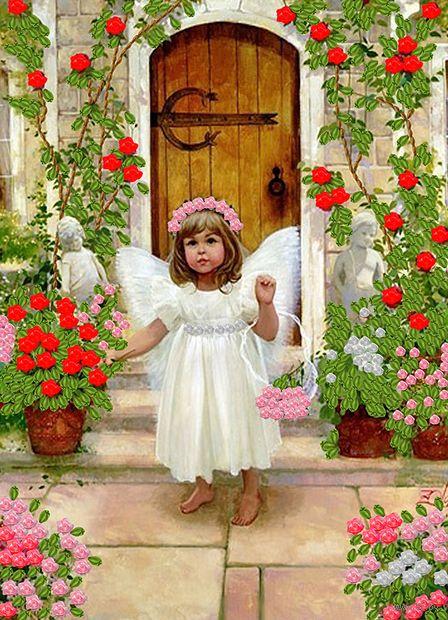 "Вышивка лентами ""Ангел"" (360х260 мм) — фото, картинка"