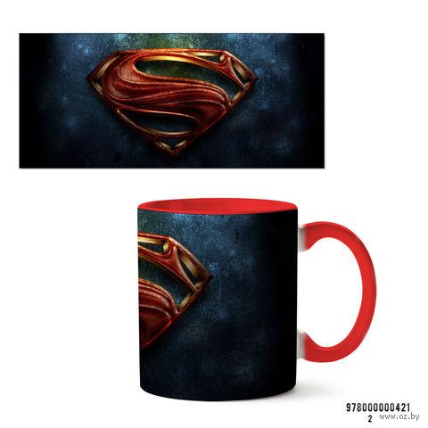 """Кружка """"Супермэн из вселенной DC"""" (красная; арт. 421) — фото, картинка"""