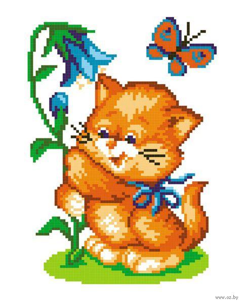 """Вышивка крестом """"Кот с колокольчиком"""""""