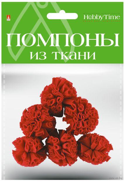 Помпоны из ткани (6 шт.; 30 мм; бордовые) — фото, картинка