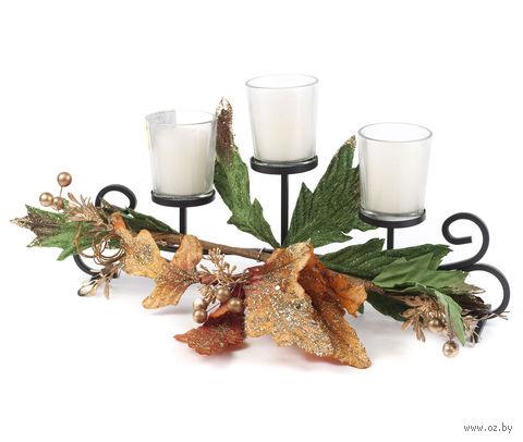 Набор подсвечников стеклянных на подставке с украшением (3 шт.) — фото, картинка