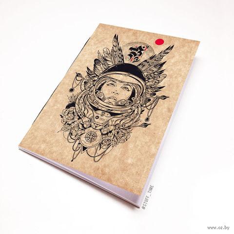 """Блокнот крафт """"Девушка космонавт"""" А6 (454)"""