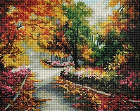 "Алмазная вышивка-мозаика ""Осенняя аллея"" (400х500 мм) — фото, картинка"