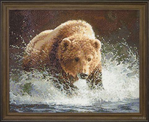 "Алмазная вышивка-мозаика ""Медведь на рыбалке"" (480х380 мм) — фото, картинка"