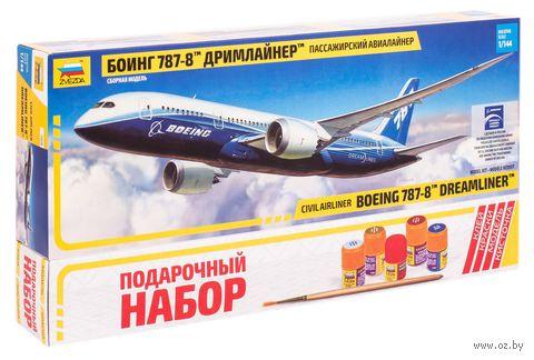 "Подарочный набор ""Пассажирский авиалайнер Боинг 787-8 Дримлайнер"" (масштаб: 1/144)"