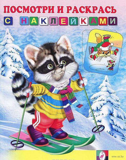 Енот на лыжах. Раскраска с наклейками