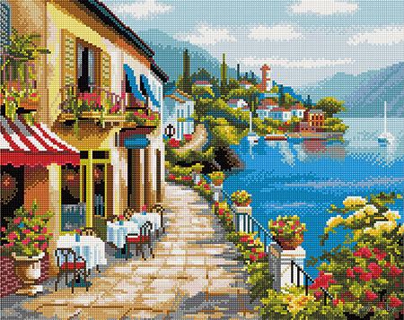 """Алмазная вышивка-мозаика """"Кафе на набережной"""" (400х500 мм) — фото, картинка"""