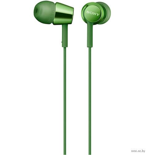 Наушники с микрофоном Sony MDR-EX155APG (зеленые) — фото, картинка