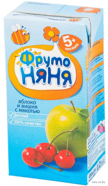 "Нектар детский ФрутоНяня ""Яблоко и вишня"" (200 мл) — фото, картинка"