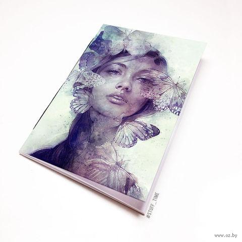 """Блокнот белый """"Девушка с бабочками"""" А6 (796)"""