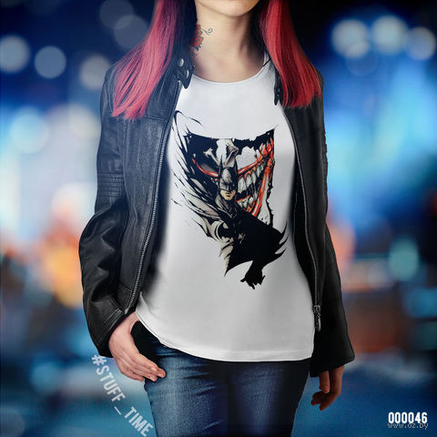 "Футболка женская ""Бэтмен и Джокер"" M (046)"