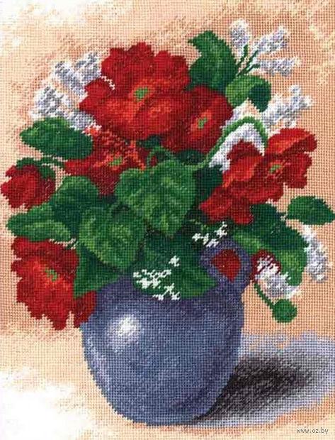 """Вышивка крестом """"Букет в синей вазе"""" (210x270 мм) — фото, картинка"""