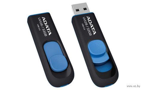 USB Flash Drive 32Gb A-Data UV128 USB 3.0 (Black/Blue) — фото, картинка