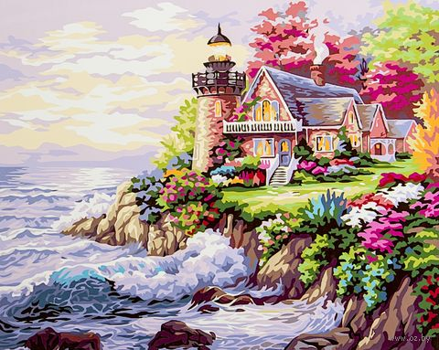 """Картина по номерам """"Дом у маяка"""" (400х500 мм) — фото, картинка"""