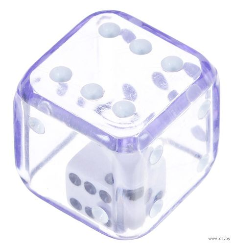"Кубик D6 ""Кубик в кубике"" (19 мм; фиолетовый) — фото, картинка"