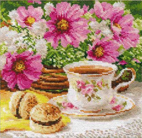"""Вышивка крестом """"Утренний чай"""" (180х180 мм) — фото, картинка"""