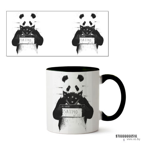 """Кружка """"Панда"""" (черная; арт. 510) — фото, картинка"""