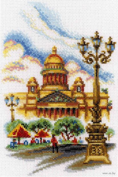 """Вышивка крестом """"Исаакиевский собор, г. Санкт-Петербург"""" (150x230 мм) — фото, картинка"""