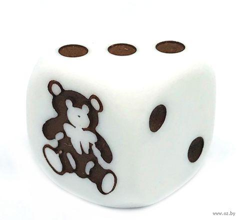"""Кубик D6 """"Мишка"""" (16 мм; белый) — фото, картинка"""
