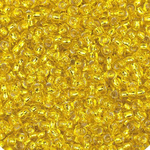 Бисер прозрачный с серебристым центром №87010 (желтый; 10/0) — фото, картинка