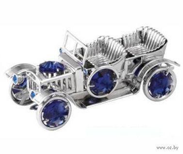 """Статуэтка металлическая серебристая с кристаллами Swarovski """"Автомобиль"""" (8,7х3,4 см)"""
