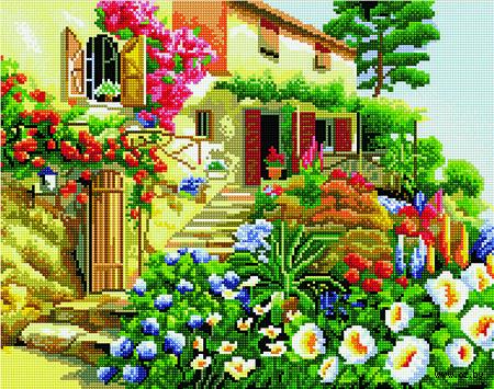 """Алмазная вышивка-мозаика """"Цветочный палисад"""" (400х500 мм) — фото, картинка"""