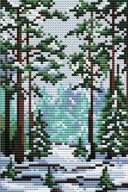 """Вышивка крестом """"Сказка зимнего леса"""" (100х150 мм) — фото, картинка"""