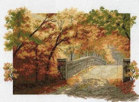 """Вышивка крестом """"Осенний мост"""""""