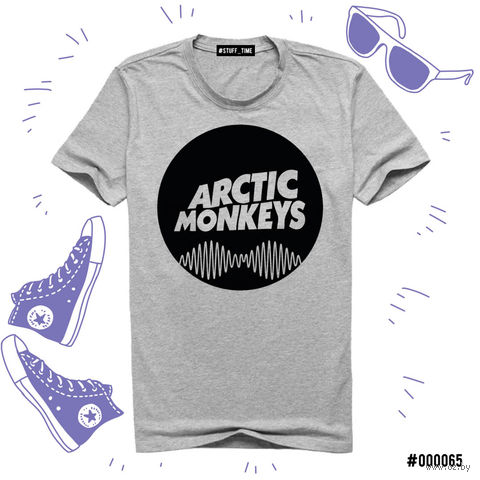 "Футболка серая унисекс ""Arctic Monkeys"" (S; арт. 065)"