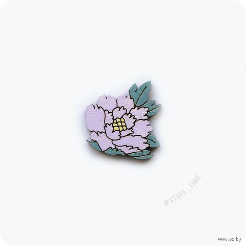"""Значок деревянный """"Сиреневый цветок"""" (арт. 049) — фото, картинка"""