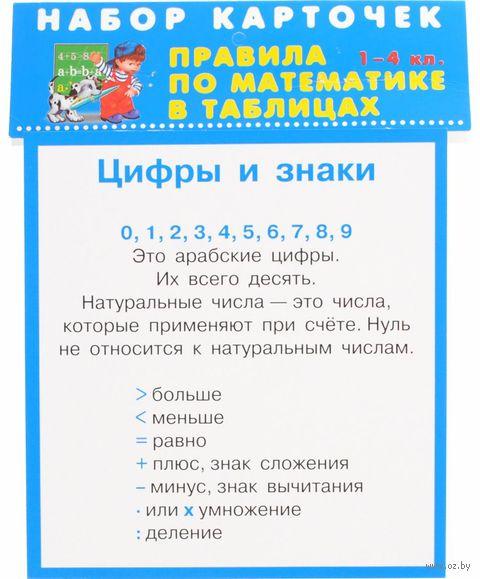 Правила по математике в таблицах. 1-4 класс