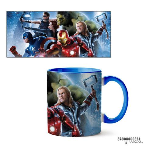 """Кружка """"Мстители из вселенной MARVEL"""" (голубая; арт. 323) — фото, картинка"""