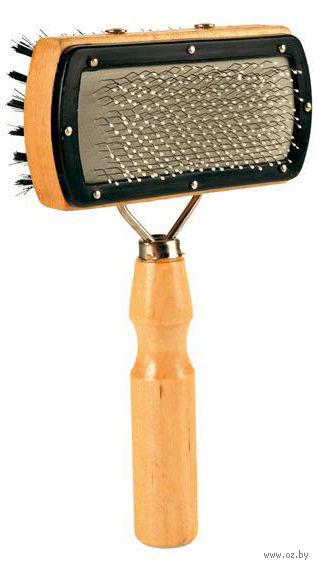 Мягкая щетка-пуходерка для ухода за шерстью двусторонняя (10х18 см) — фото, картинка