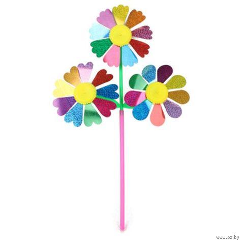 """Детский флюгер """"Вертушка. Цветы 3 в 1"""" — фото, картинка"""