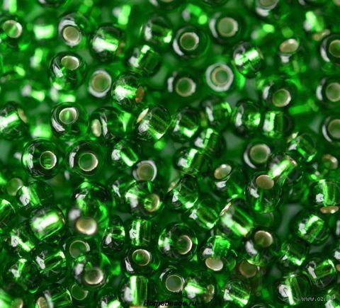Бисер прозрачный с серебристым центром №57120 (зеленый; 10/0) — фото, картинка