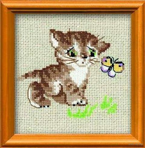 """Вышивка крестом """"Котенок с бабочкой"""" (арт. 1049)"""