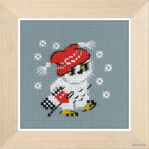 "Вышивка крестом ""Снежок"" (90x90 мм) — фото, картинка"